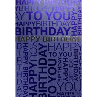 geburtstagskarte happy birthday blau-silber