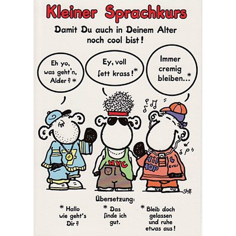 Sheepworld Geburtstagskarte Sprachkurs