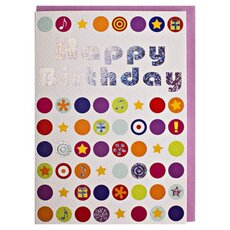 Happy Birthday Card Dots multicolor