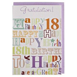 Geburtstagskarte Text 18.Geburtstagskarte 18 Mit Glimmerlack