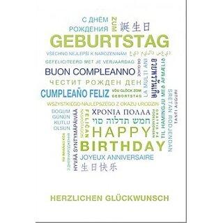 Geburtstagskarte International Blau Grun