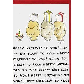 Geburtstagskarte Happy Birthday Elefanten Geschenkkarawane