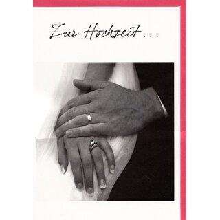Hochzeitskarte Hande Mit Ringen Sw Foto