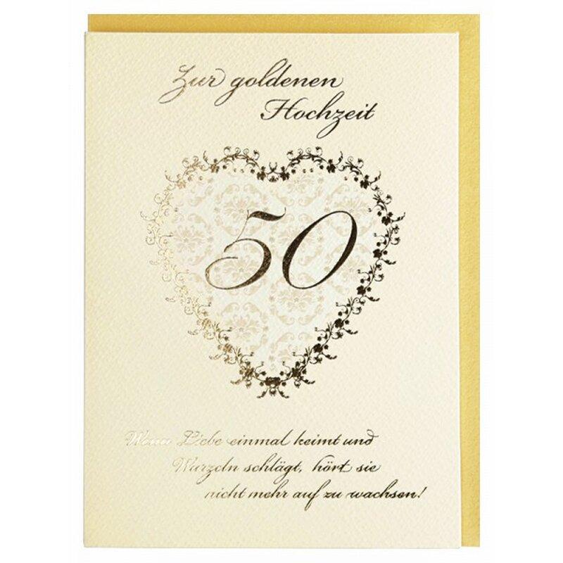 Glückwunschkarte Zur Goldenen Hochzeit 50 Hochzeitstag Creme Gold Mit Spruch
