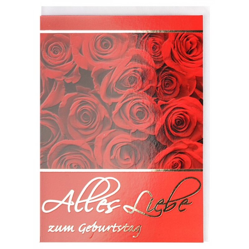 geburtstagskarte alles liebe rote rosen. Black Bedroom Furniture Sets. Home Design Ideas