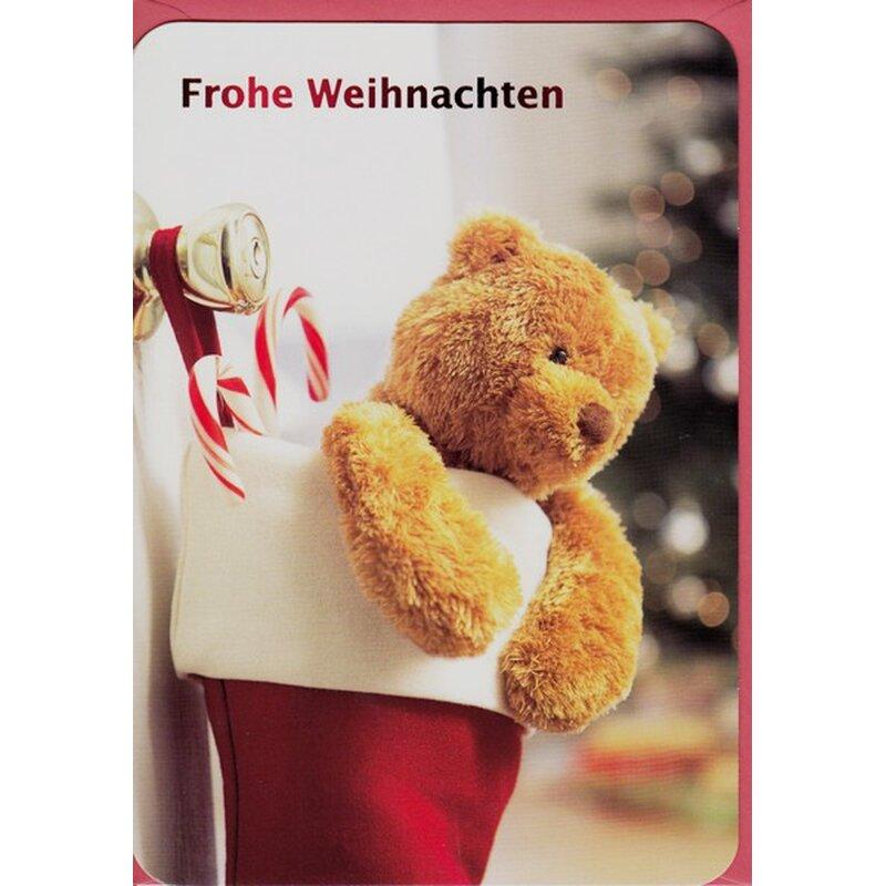weihnachtskarte frohe weihnachten teddy in christmas stocking. Black Bedroom Furniture Sets. Home Design Ideas