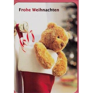 Teddy Weihnachten.Weihnachtskarte Frohe Weihnachten Teddy In Christmas Stocking