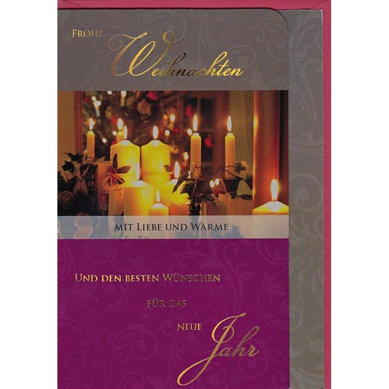 weihnachtskarte frohe weihnachten mit liebe und w rme kerzen. Black Bedroom Furniture Sets. Home Design Ideas