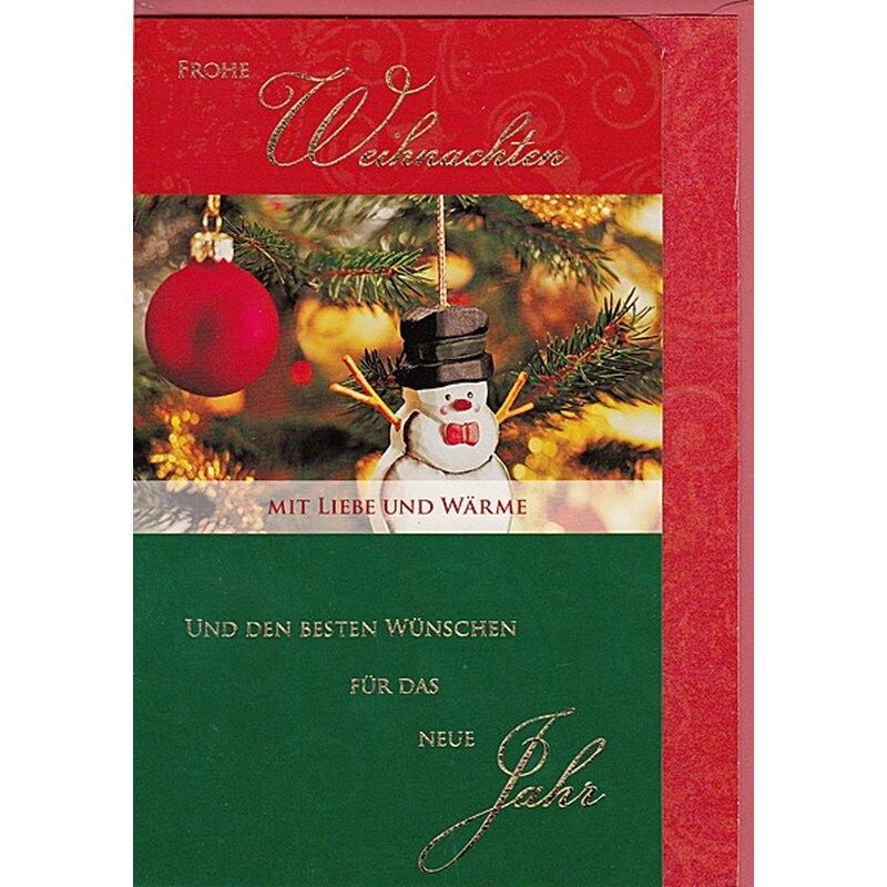 weihnachtskarte frohe weihnachten mit liebe und w rme. Black Bedroom Furniture Sets. Home Design Ideas