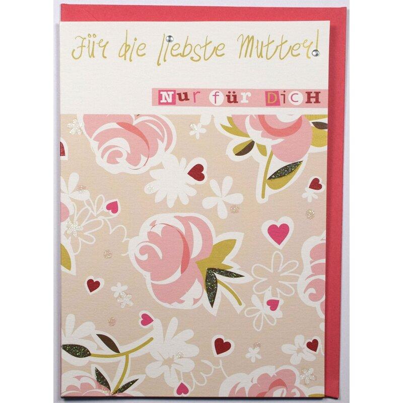gl ckwunschkarte muttertag f r die liebste mutter rosa rosen mit glimmer. Black Bedroom Furniture Sets. Home Design Ideas