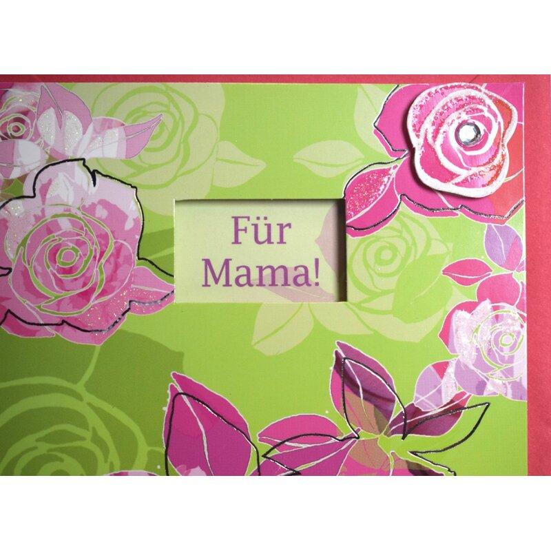 muttertagskarte f r mama einen sch nen muttertag pink gr n mit fenster. Black Bedroom Furniture Sets. Home Design Ideas