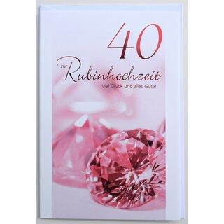 Glückwunschkarte Rubinhochzeit 40 Jahre Hochzeitstag