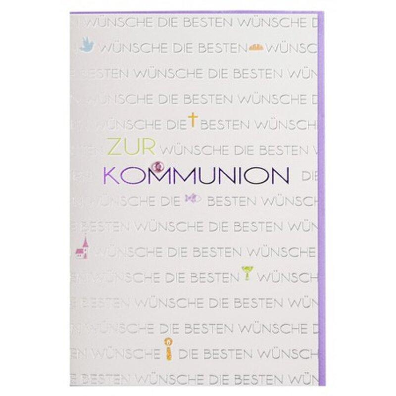 Kommunion Karte Text.Kommunionkarte Schrift Silber Weiß