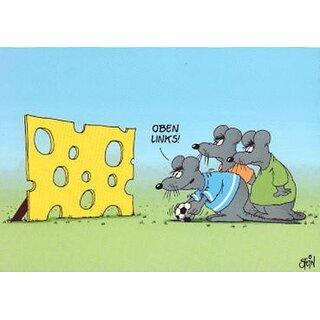 Uli Stein Postkarte Fußball Mäuse Torwand
