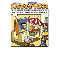 Cartoon Postkarte Willmor Innenbalkon