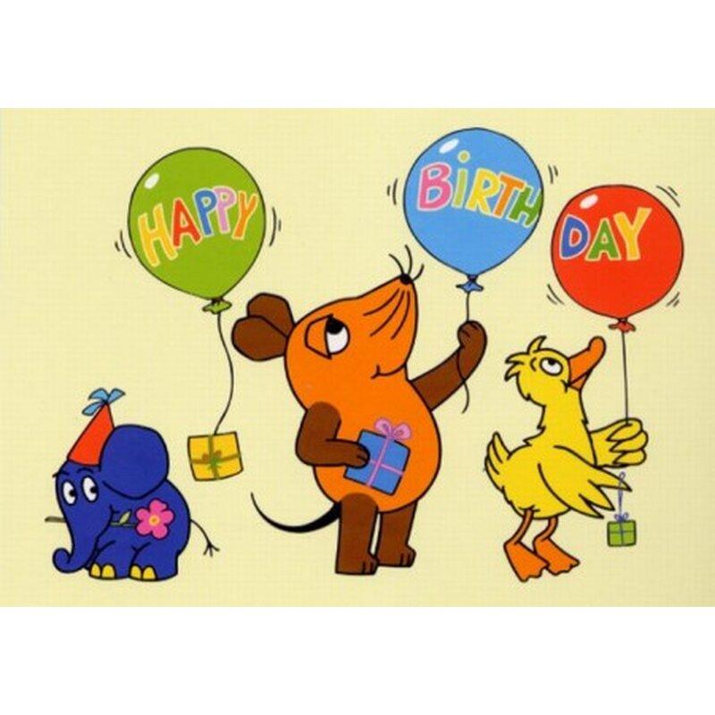 die maus postkarte happy birthday ballons