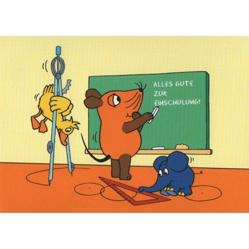 Die Maus Postkarte Alles Gute zur Einschulung