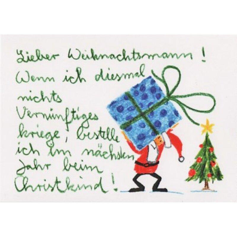 witzige weihnachtspostkarte sonst bestell ich beim christkind. Black Bedroom Furniture Sets. Home Design Ideas