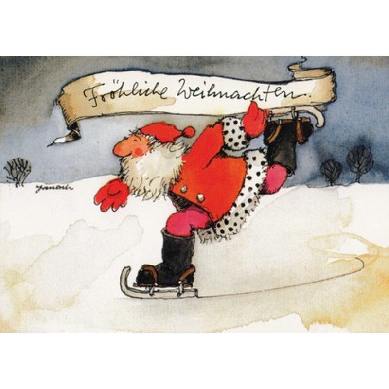 janosch weihnachtspostkarte weihnachtsmann f hrt schlittschuh. Black Bedroom Furniture Sets. Home Design Ideas