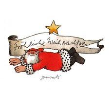 janosch weihnachtspostkarte weihnachtsmann bringt blumen. Black Bedroom Furniture Sets. Home Design Ideas