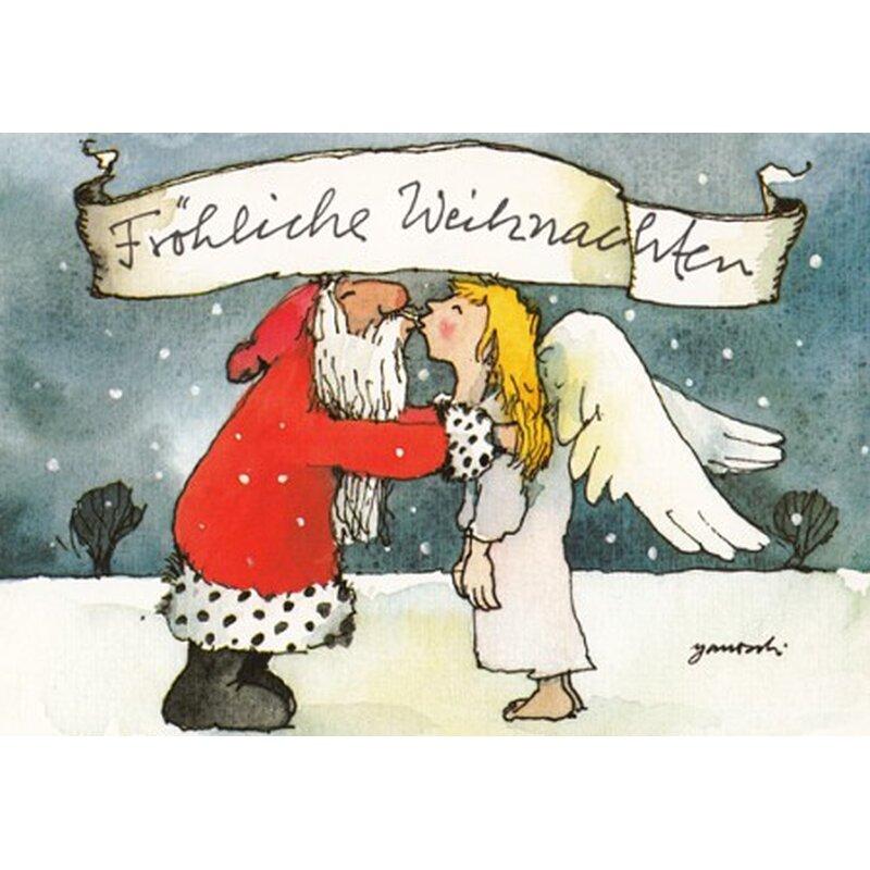 janosch weihnachtspostkarte weihnachtsmann k sst engel. Black Bedroom Furniture Sets. Home Design Ideas