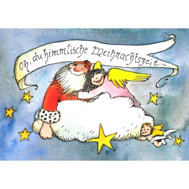 janosch weihnachtspostkarte weihnachtsmann und engel auf wolke. Black Bedroom Furniture Sets. Home Design Ideas