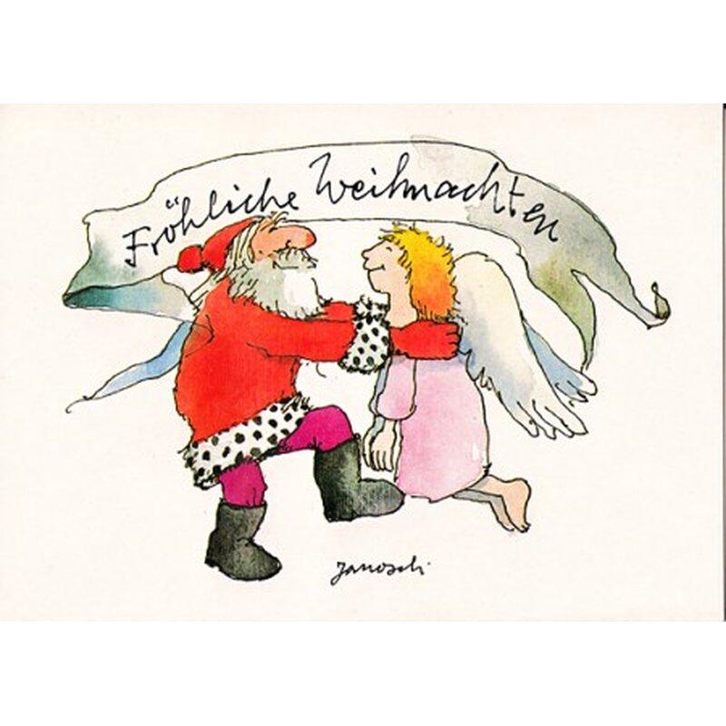 janosch weihnachtspostkarte weihnachtsmann tanzt mit engel ii. Black Bedroom Furniture Sets. Home Design Ideas