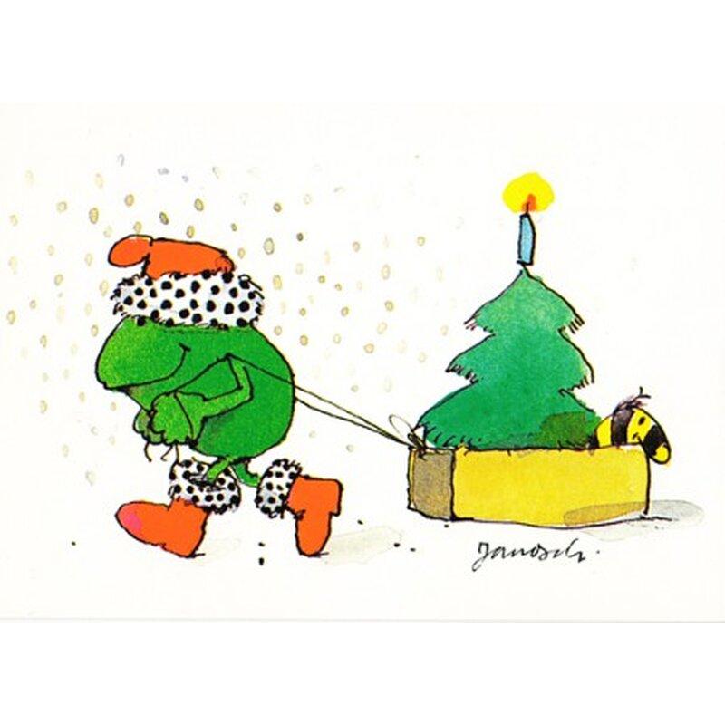 janosch weihnachtspostkarte frosch bringt christbaum mit. Black Bedroom Furniture Sets. Home Design Ideas