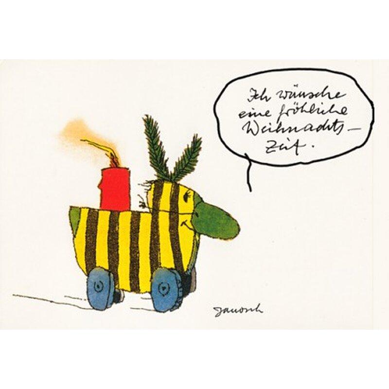 janosch weihnachtpostkarte tigerente mit kerze und pappnase. Black Bedroom Furniture Sets. Home Design Ideas