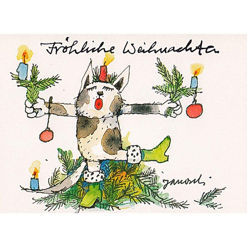 janosch weihnachtspostkarte katze mimt weihnachtsbaum. Black Bedroom Furniture Sets. Home Design Ideas