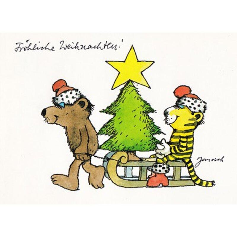 janosch weihnachtspostkarte bär und tiger fahren schlitten