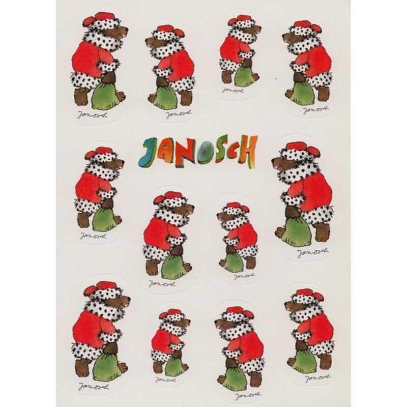 janosch sticker postkarte weihnachtsb r mit geschenkesack. Black Bedroom Furniture Sets. Home Design Ideas