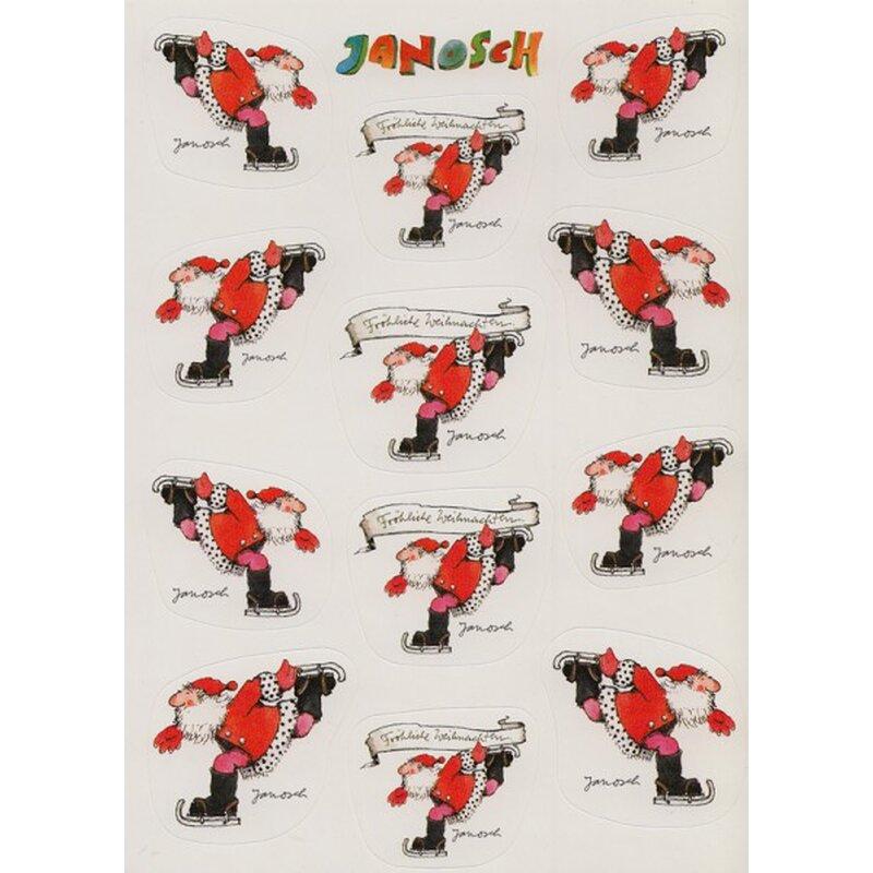 janosch sticker postkarte weihnachtsmann auf schlittschuhen. Black Bedroom Furniture Sets. Home Design Ideas