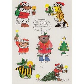 janosch sticker postkarte fr hliche weihnachtszeit eine. Black Bedroom Furniture Sets. Home Design Ideas