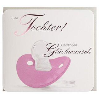 Glückwunschkarte Geburt Tochter Rosa Schnuller