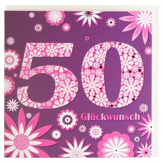 Geburtstagskarte Zum 50 Geburtstag Lila Pink