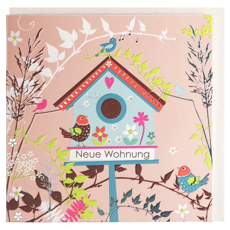 glueckwunschkarte zum einzug neue wohnung vogelhaus