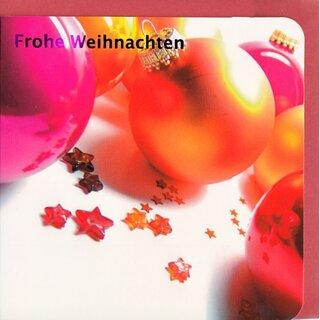 Christbaumkugeln Perlmutt.Weihnachtskarte Frohe Weihnachten Christbaumkugeln Pink Orange