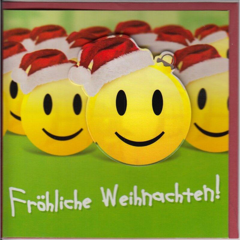 Weihnachtskarte Smileys mit Weihnachtsmützen