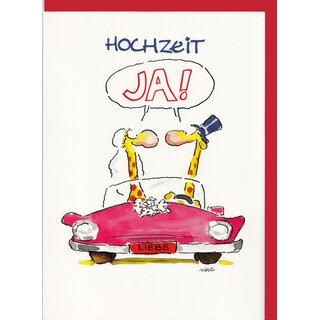 Witzige A4 Maxi Hochzeitskarte Ja