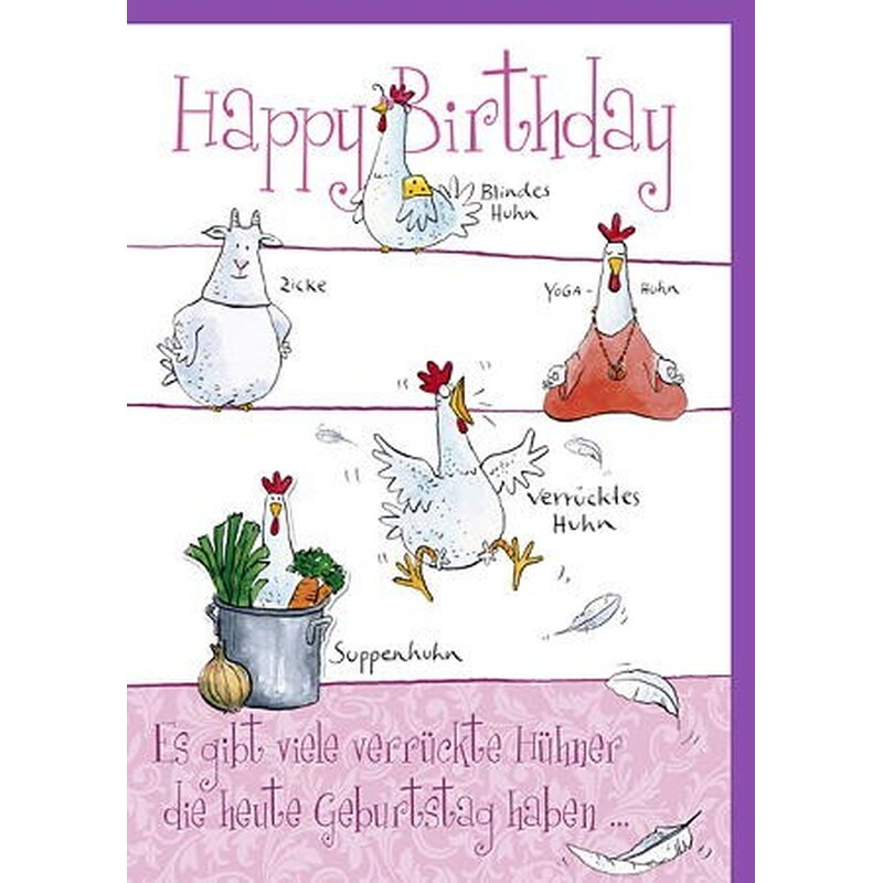 Witzige A4 Maxi Geburtstagskarte Verrucktes Huhn