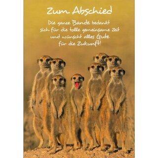 A4 Abschiedskarte Erdmannchen Danke Fur Die Tolle Zeit