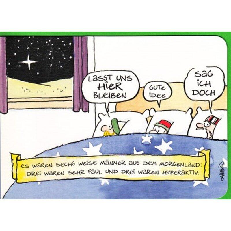 Witzige Weihnachtskarte die sechs Weisen aus dem Morgenland