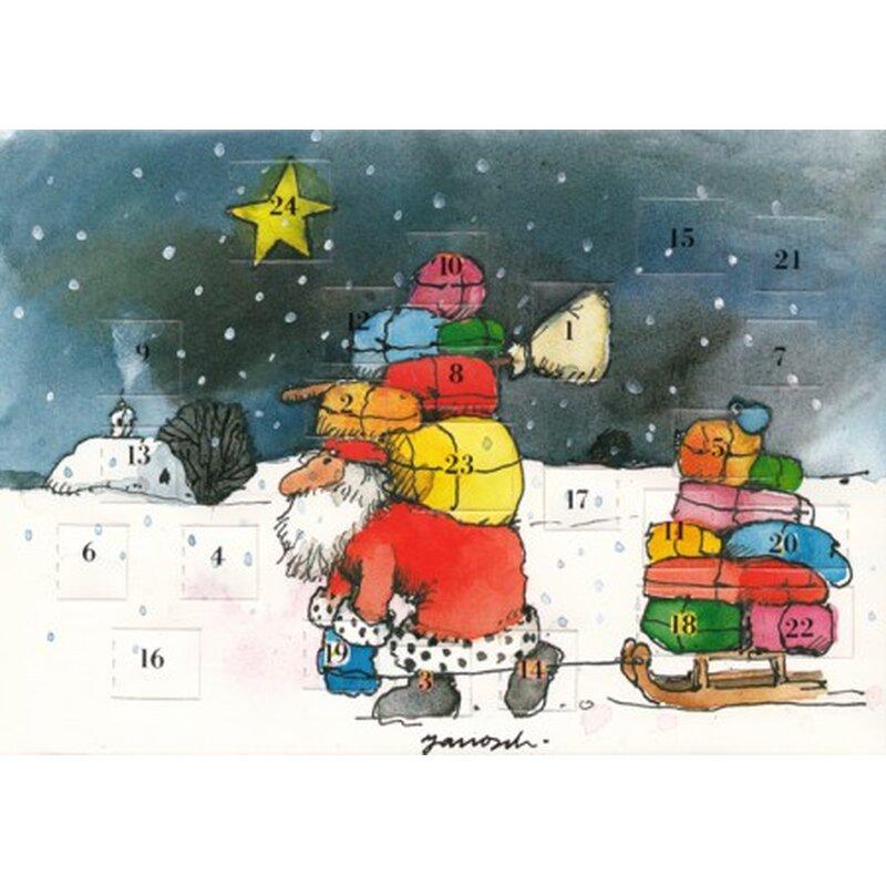 janosch adventskalenderkarte weihnachtsmann mit geschenken. Black Bedroom Furniture Sets. Home Design Ideas