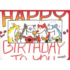 Happy Birthday Card Funny Cat Band A6
