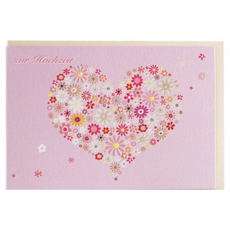 gl ckwunschkarte zur hochzeit rosa blumenherz a6. Black Bedroom Furniture Sets. Home Design Ideas