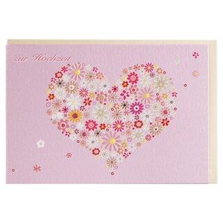 Gluckwunschkarte Zur Hochzeit Rosa Blumenherz A6