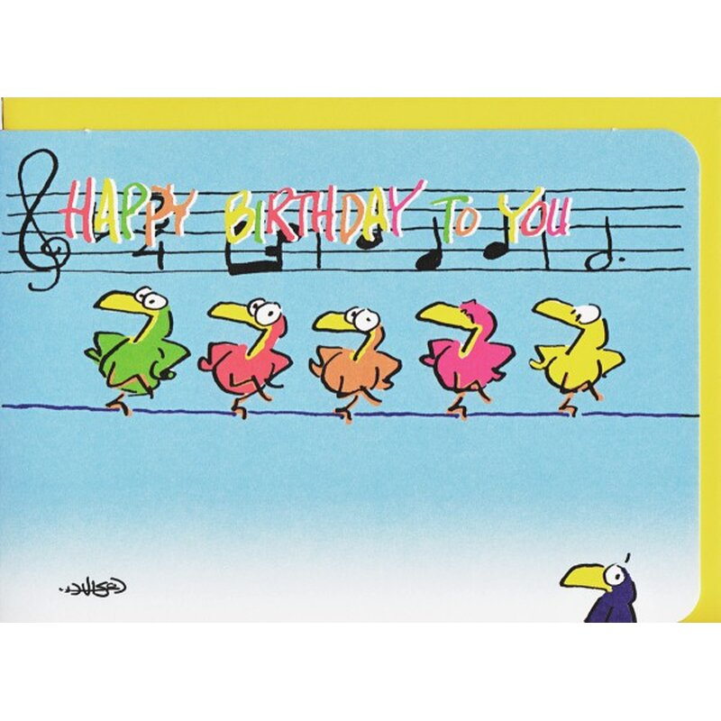 Geburtstagskarte Happy Birthday Funny Dancing Birds A6