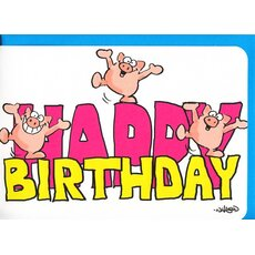 Geburtstagskarte Birthday Card Funny Dancing Pigs A6