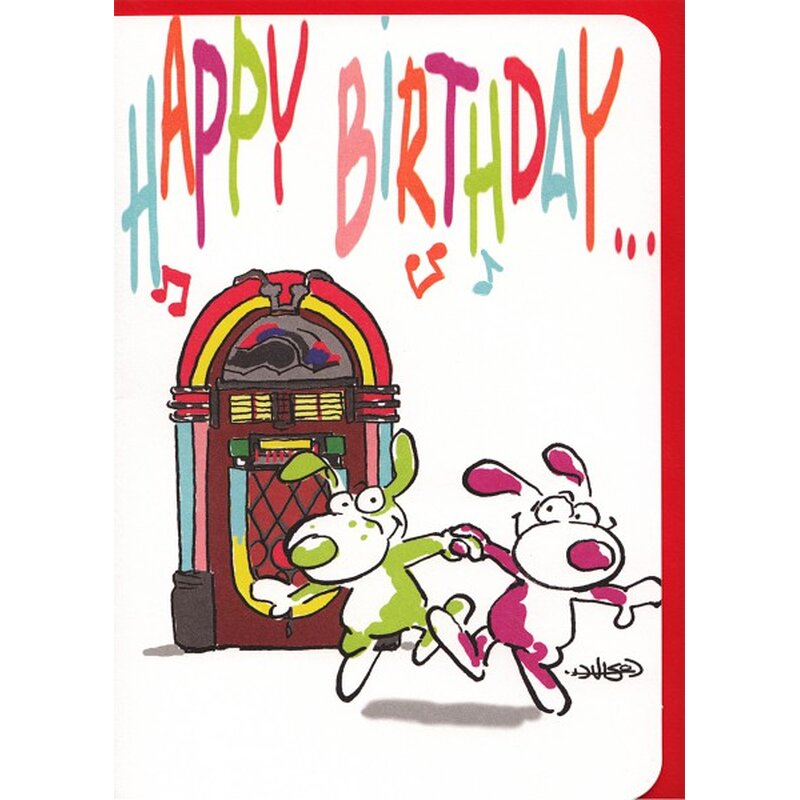 Geburtstagskarte Happy Birthday Funny Dancing Dogs Jukebox A6